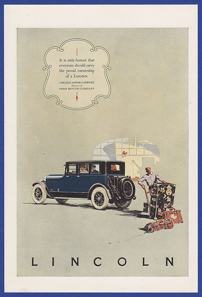 Vintage 1924 Lincoln Ford Motor Company Automobile Car Art Decor