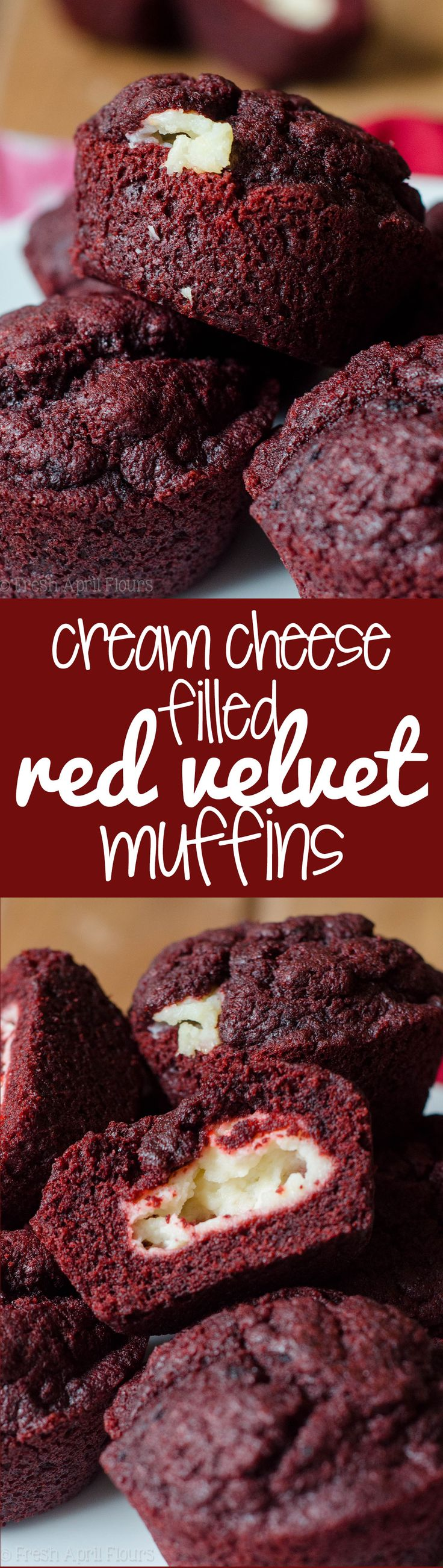 Cream Cheese Filled Red Velvet Muffins: All the red velvet flavor packed into a muffin, filled with lightly sweetened cream cheese filling. #Valentines #desserts