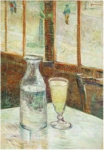 Van Gogh's Relationship with Alcohol  http://blog.vangoghgallery.com/index.php/2015/01/06/van-goghs-relationship-with-alcohol/ Still Life with Absinthe #vangogh