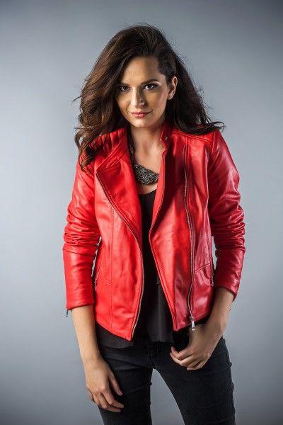 Leather jachet for women red 2040 (1)
