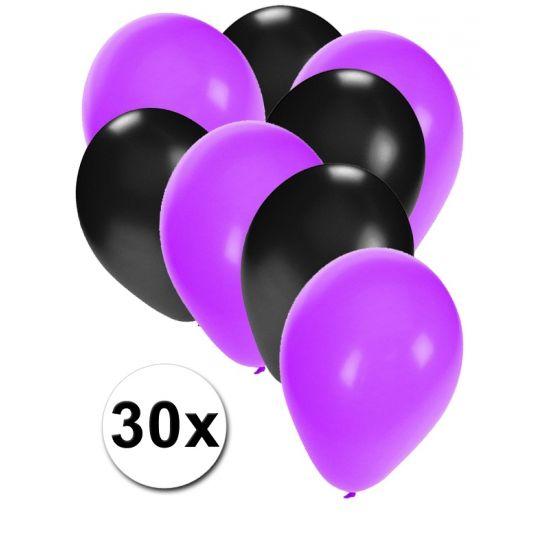 Zwarte en paarse ballonnen 30 stuks  30 stuks ballonnen in de kleuren zwart en paars. Van elke kleur 15 ballonnen leuk voor verjaardagen en themafeesten. Formaat is ongeveer 27 cm. Goede kwaliteit.  Dit artikel bestaat uit: 1x Zwarte ballonnen 15 stuks 1x Paarse ballonnen 15 stuks  EUR 2.99  Meer informatie