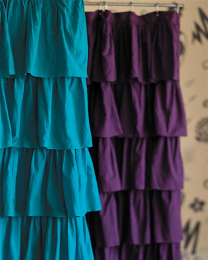 India Rose Plum Aqua Ruffled Shower Curtain Color Aqua Teal With Plumy Maroon Pinterest