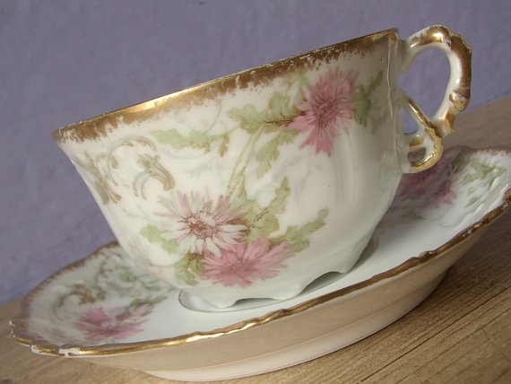 Pink Flowers Tea Cup And Saucer Set, Antique Limoges France, L. Sazerat,