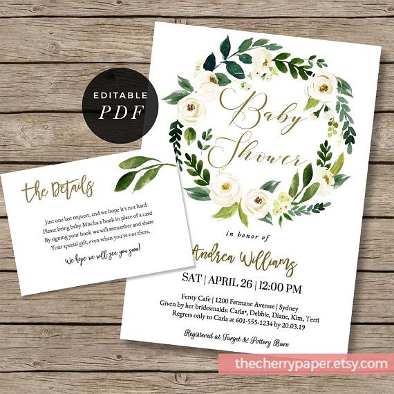 Greenery Baby Shower, invitation, detail card,insert, bring a book card, garden, invites, boho, floral, leaf,leaves, wreaths,template, GRN03
