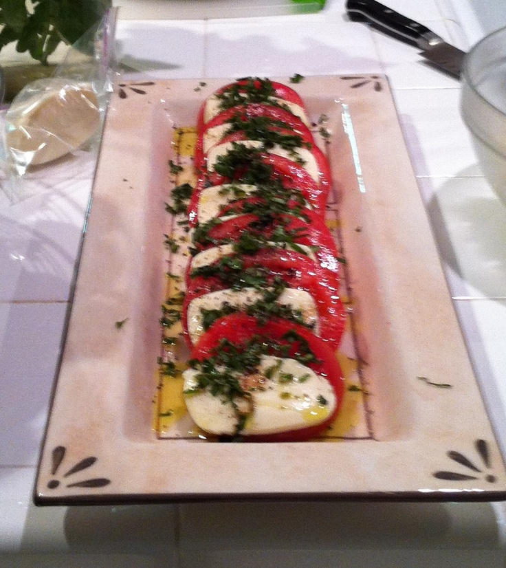 Cindy's Caprice Salad/ Tomatoes, Mozzarella , evoo, and Basil: Very Refreshing