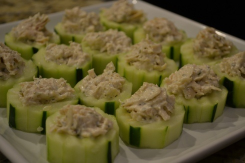 Publix Tarragon Chicken Salad inside thick slices of cucumber (punch the seeds out first to create a hole)....great appetizers!