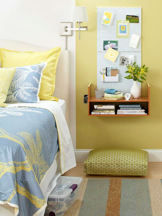 Floating Nightstand  If you don't have the luxury of a bedside table, create a storage-packed floating shelf by installing a closet shelf upside down beside your bed. The small shelf takes up no floor space yet offers an ample surface for an alarm clock, reading material, and decorative accents.