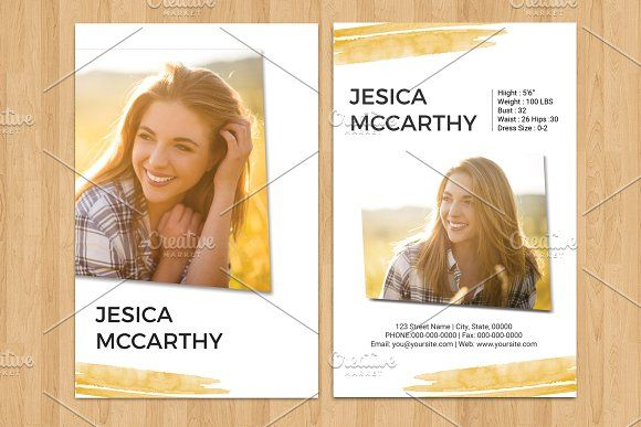 Model Comp Card Template Photoshop, Photoshop Elements and MS Word Template