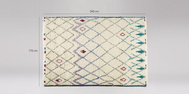 Sebou large rug, natural and blue