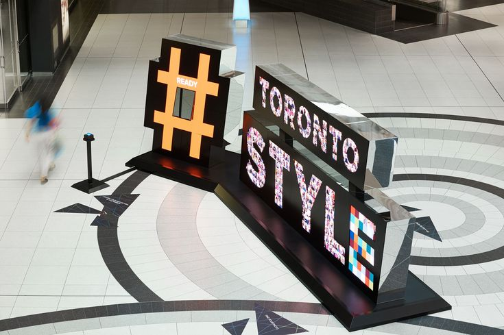 #TorontoStyle | Cadillac Fairview, Built by Eventscape, Powder Coated Metal Frame, Millwork, Aluminum, Digital Signage, Digital Branding, Custom Camera, Scratch Resistant Mirror, LED Displays, Digital Interactive Sculpture, Toronto Eaton Centre