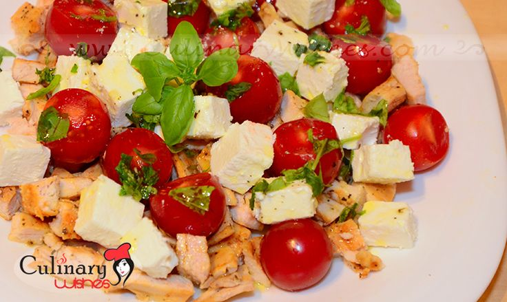 Chicken salad with cherry tomatoes and feta cheese on http://www.culinarywishes.com