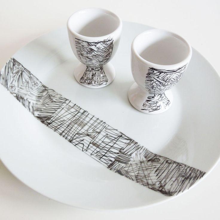 plato y taza de huevo tutorial