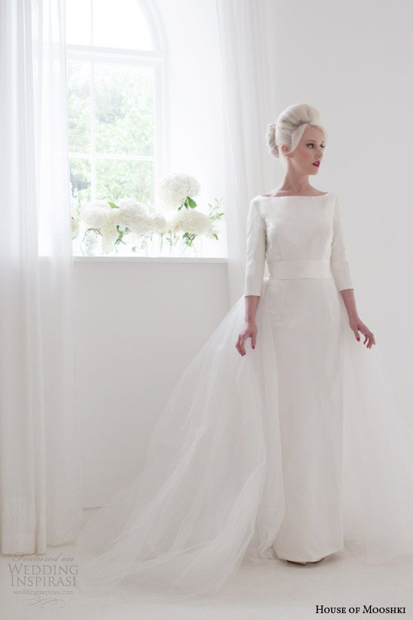house of mooshki bridal spring 2015 jacqueline bateau neck column wedding dress sleeves tulle over skirt