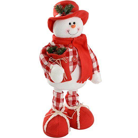WeRChristmas - Decorazione natalizia da pavimento a forma di pupazzo di neve, con gambe estensibili, 35 - 60 cm, fantasia abito: scozzese, colore: Rosso/Bianco