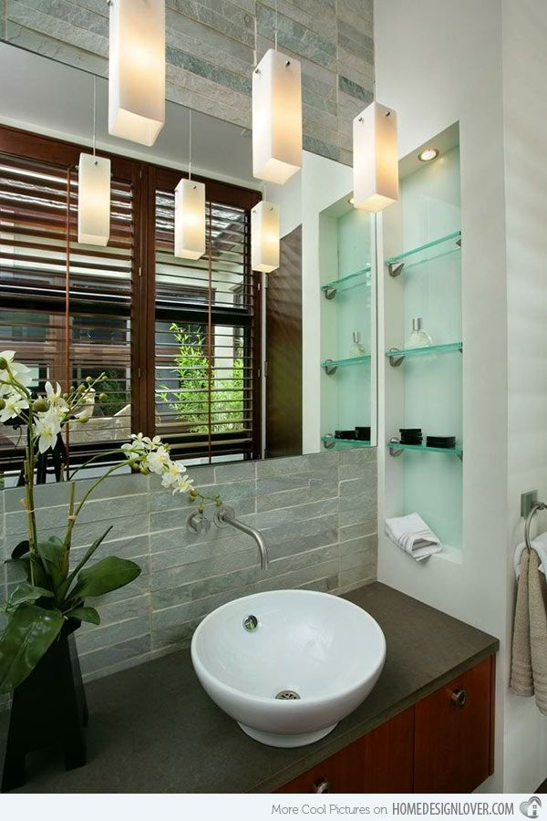 15 Bathroom Spaces With Glass Shelving