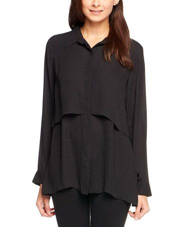 Loving this Black Layered Button-Up - Plus Too on #zulily! #zulilyfinds