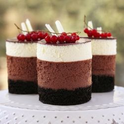 Triple chocolate mousse mini cakes