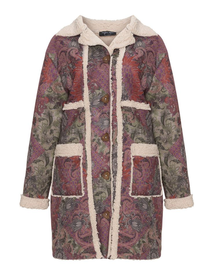 Vincenzo Allocca Patterned faux shearling coat in Multicolour / Beige