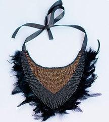 Коричнево-черное колье-воротник из бисера и перьев Ave Fenix