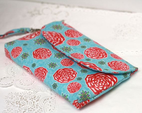Clutch Purse Blue and Red Floral, zippered purse, mobile phone clutch with detachable wrist strap