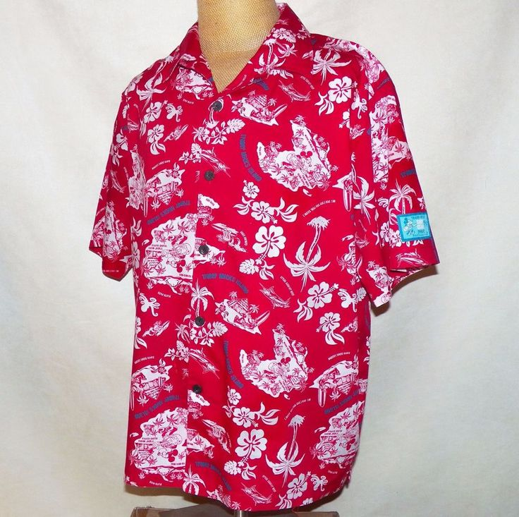 Walt Disney World Trader Mick's Surf Gear Mickey Hawaiian Aloha Camp Shirt L #DisneyParksMerchandise