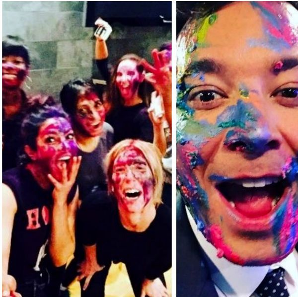 No longer homesick! Priyanka Chopra had a crazzayy Holi with Jimmy Fallon and the 'White' in the house – view pics #FansnStars