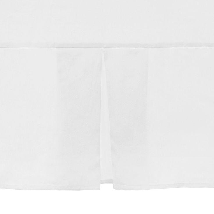 Faldón de cama de algodón-poliéster. Cuidados: lavar a máquina con agua tibia, no blanquear, no usar secadora, planchar a temperatura media, no lavar en seco, lavar colores oscuros por separados.
