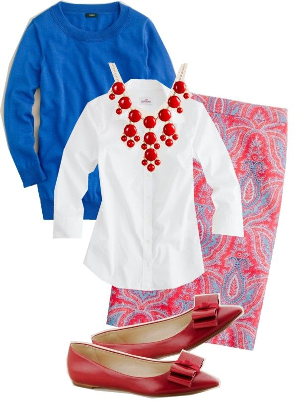 """""""J. Crew No. 2 Pencil Skirt in Raj Paisley and Red Bubble Necklace"""" by jcrewismyfavstore on Polyvore"""