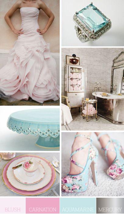 perfect wedding colors. love the blush wedding dress