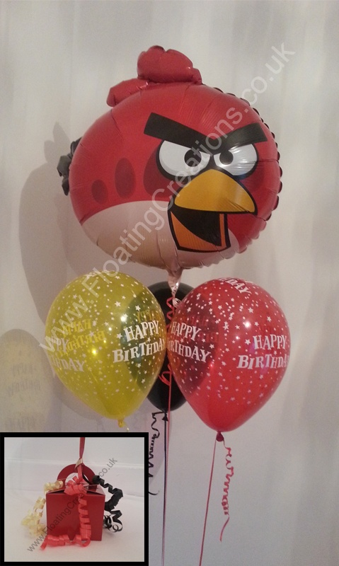 Angry Birds Birthday Bouquet. This consists of a 23 inch foil balloon. Two latex 'Happy Birthday' balloons and one plain black latex balloon. https://www.facebook.com/balloonsglasgow