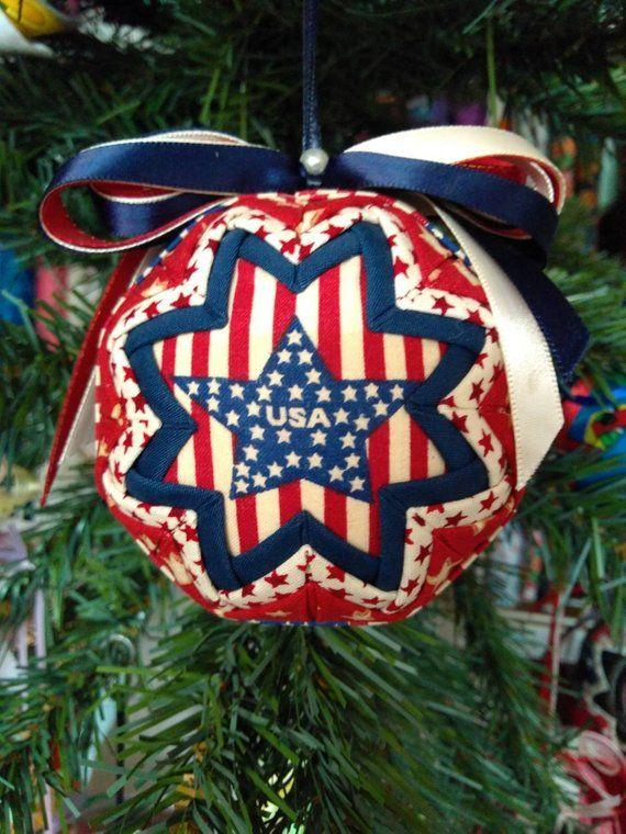 Fabric Ornament Folded Fabric Ornament Usa Ornament Patriotic Ornament Folded Fabric Ornaments Fabric Ornaments Ornaments