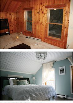 Removing wood paneling is no easy task, so this homeowner decided to scrap the panels on the walls and simply paint over the ceiling, What's left actually has adorable texture and life. Get the tutorial at Fixing it Fancy »   - HouseBeautiful.com