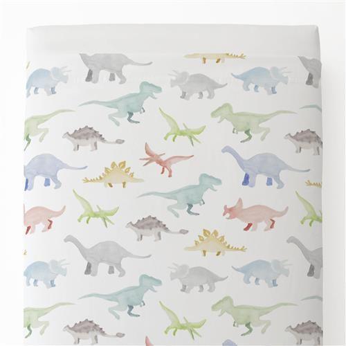 Watercolor Dinosaurs Toddler Bed Sheet Top Flat