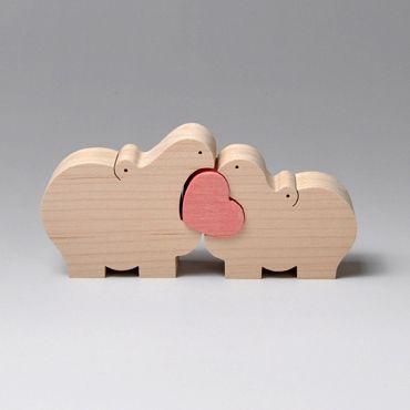 組み木 木のおもちゃ 『遊プラン』 KA343 | カバのカップルとハート・MC