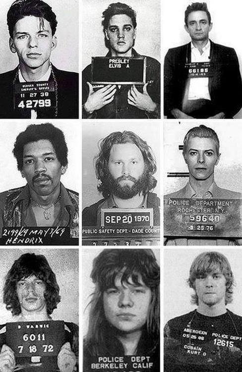 Frank Sinatra, Elvis Presley, Johnny Cash, Jimi Hendrix, Jim Morrison, David Bowie, Mick Jagger, Janis Joplin and Kurt Cobain.