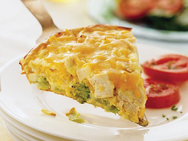 Impossibly Easy Chicken 'n Broccoli Pie~ 2 cups Green Giant® frozen broccoli cuts, thawed, drained 1 1/2 cups shredded Cheddar cheese (6 oz) 1 cup cut-up cooked chicken or 2 cans (5 oz each) chunk chicken, well drained 1 medium onion, chopped (1/2 cup) 1/2 cup Original Bisquick® mix 1 cup milk 1/2 teaspoon salt 1/4 teaspoon pepper 2 eggs