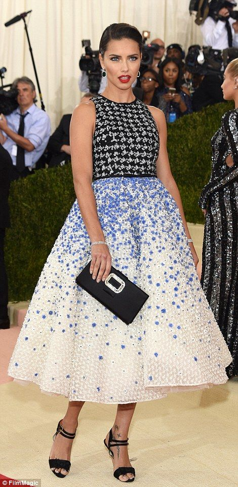 Pretty woman: Model Adriana Lima looked simply gorgeous in a prom style sequin-embellished frock