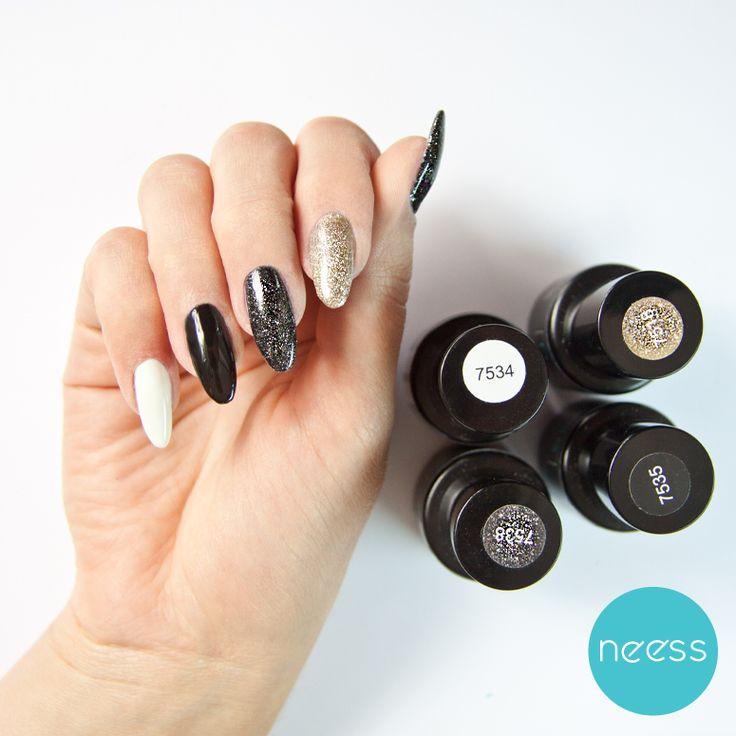 Lakiery hybrydowe NEESS. Brokatowe szaleństwo. Glitter nails, white nails, black nails