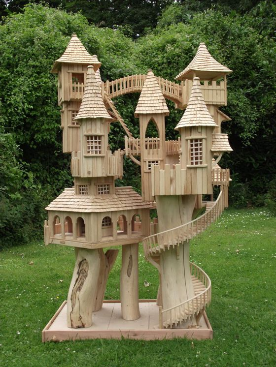 Each of Rob Heard's wooden Bough House sculptures takes several months to complete. Every intricate spiral staircase, walkway and ladder leads somewhere...inviting the imagination on a miniature exploration through an array of turrets and towers.   The sculptures can be over six feet tall and each one is completely unique, taking inspiration from the wood and the surrounding Somerset countryside.
