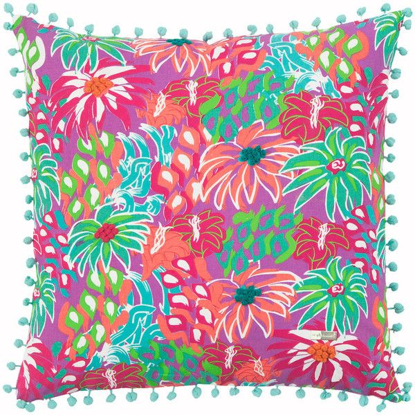 Rizzy Home Simply Southern Bright Floral I Throw Pillow ($33) ❤ liked on Polyvore featuring home, home decor, throw pillows, purple, floral toss pillow, rizzy home, flowered throw pillows, floral throw pillows and purple toss pillows