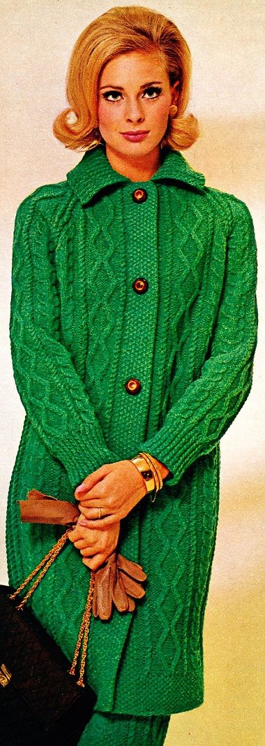 Kelly green cable knit 60s 70s fashion vintage style model photo print ad sweater set jacket skirt Knitting fashion 1970s