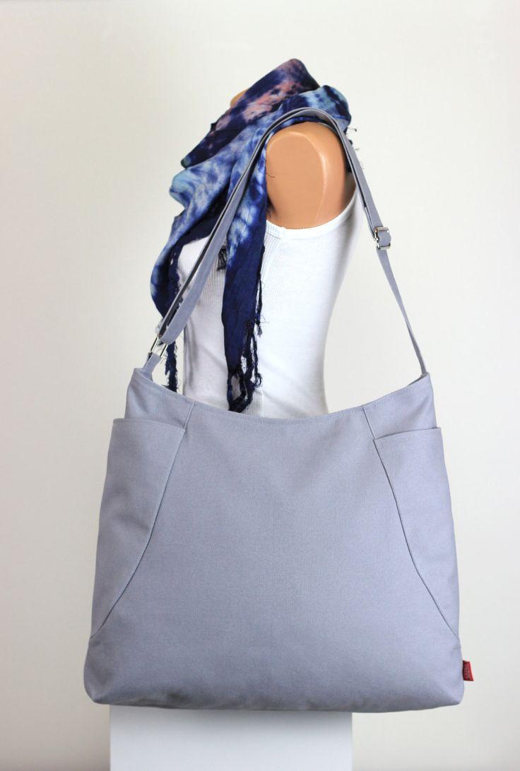 $  Light Gray Hobo Bag Two Big Pocket Large Bag Long Strap Canvas Bag Shoulder bag Crossbody bag Accessories Handmade Gift for her HIPPIRHINO by hippirhino         #design  #Purse  #unisex  #Diaperbag  #shoulderbag #Handbag  #travelbag #shoulderbag #handmadebag