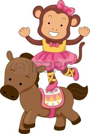 Fumetto illustrazione di Circo scimmia Balancing sul dorso di un cavallo photo