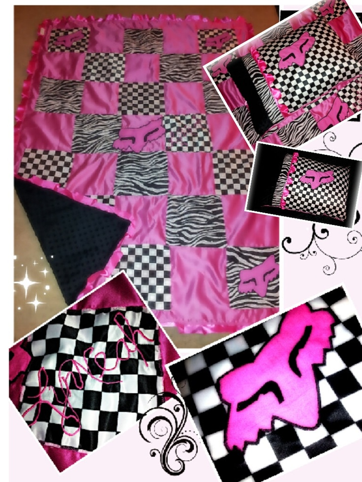 Fox racing twin adult+throw custom by TwistedCreationsByAnna  $90.00  For custom orders & price list please email me at : Twistedtemptations@yahoo.com