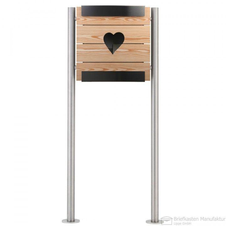 Briefkasten Freistehend Holz ~   Edelstahl Standbriefkasten Briefkasten glasnost wood heart Round