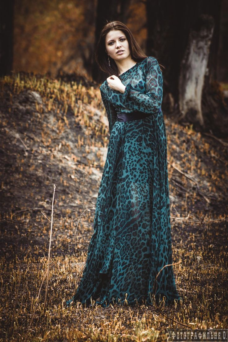 """A woman in a forest in green """"leopard pattern"""" dress by Vyacheslav  Kolomeets on 500px"""