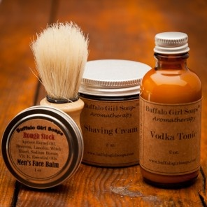 Men's Shaving Kit and Beard Taming by Buffalo Girl Soaps for Bourbon and Boots.  Groomsmen.
