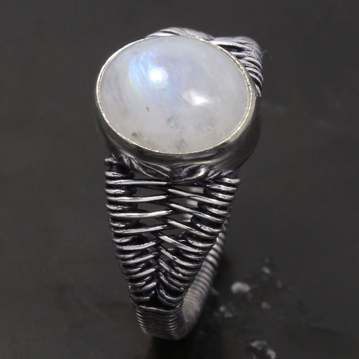 925 Silver Overlay Real RAINBOW MOONSTONE Gemstone Ring Size US 8.5 Handmade Art #Unbranded