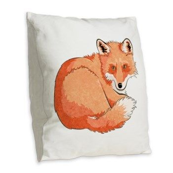 Resting Fox Burlap Throw Pillow from cafepress store: AG Painted Brush T-Shirts. #pillow #fox