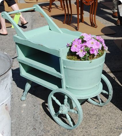 Vintage garden cart.  I need to find one like this to hold my gardening things!  Image via Centsational Girl from April 2010.